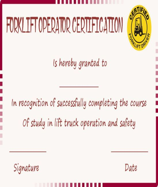 15+Forklift Certification Card Template For Training Providers