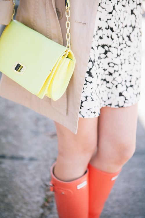 Yellow structured purse, coral hunters, with a pretty dress