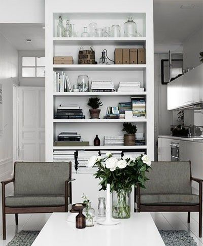Build bookshelves into partition wall