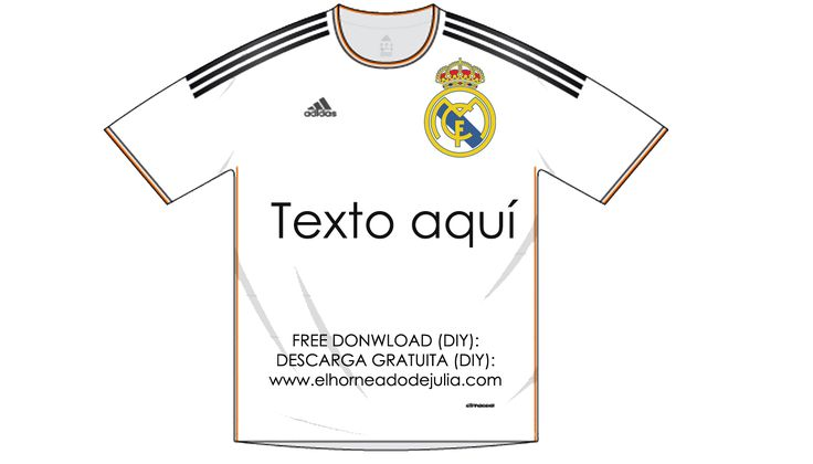 Camiseta Recortable Del Real Madrid Para Carteles Y Etiquetas Candybar Mesadechuches Party Football Diy Camisa Dia Del Padre Camisetas Camiseta De Futbol