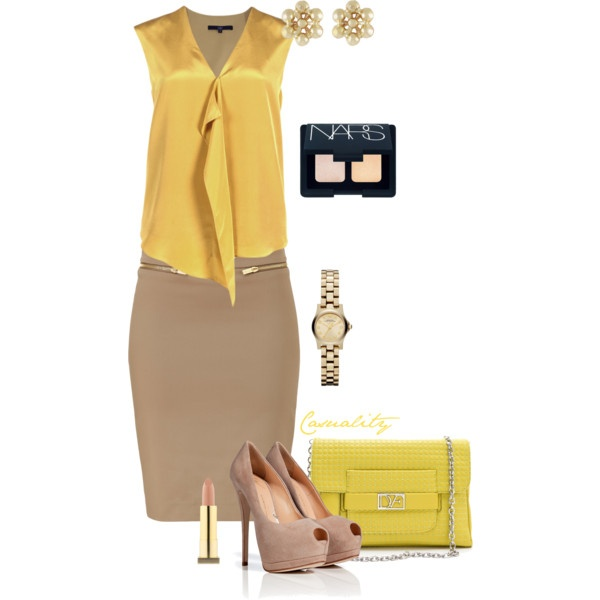 """""""Satin Mustard Top & Beige Pencil Skirt"""" by casuality on Polyvore"""