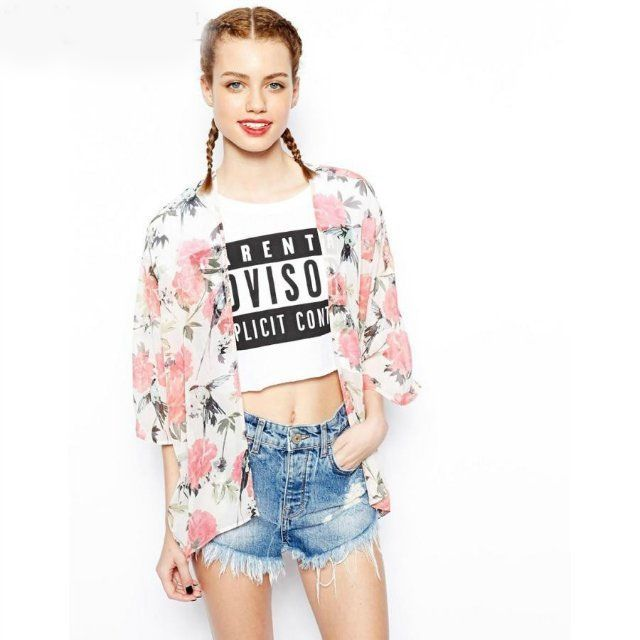 Loose Casual Floral Half Sleeve Blouses For Women