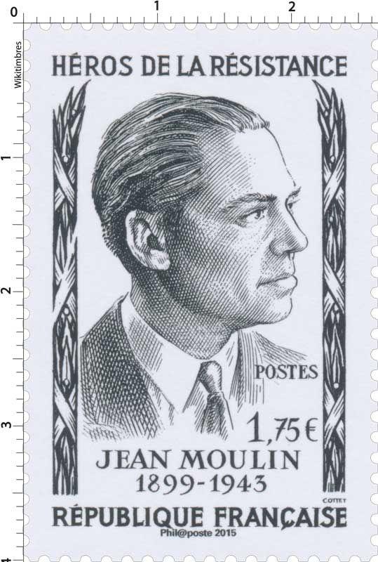 Timbre : 2015 Héros de la résistance Jean Moulin 1899-1943 | WikiTimbres