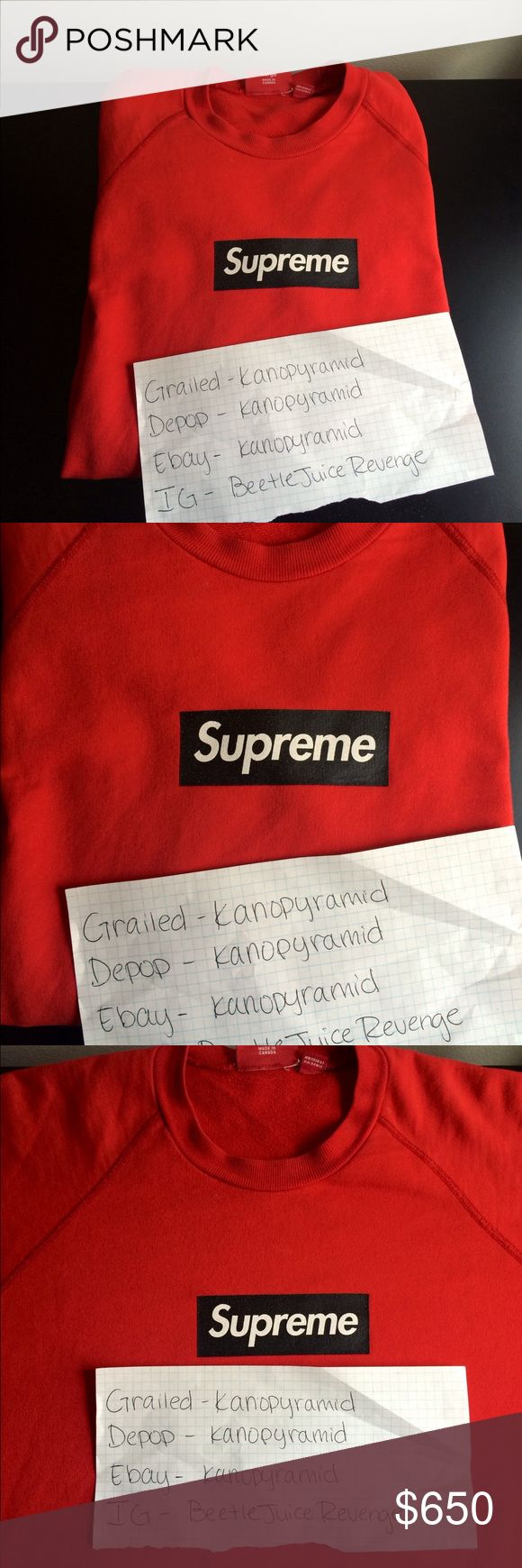 Supreme lightweight box logo Screenprint box logo crew don't see these often great for summer night or spring going to winter yes it's real never made fake printed crews or hoodies but anyways it was released in 2006 let me know if you liked to buy Supreme Sweaters Crew & Scoop Necks