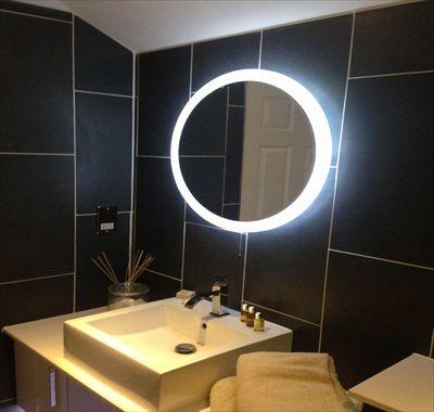 "Eco Luminaires, Montignac 24290 | ""Halo Rond"" Miroir LED Lumineux. Evalué IP44"
