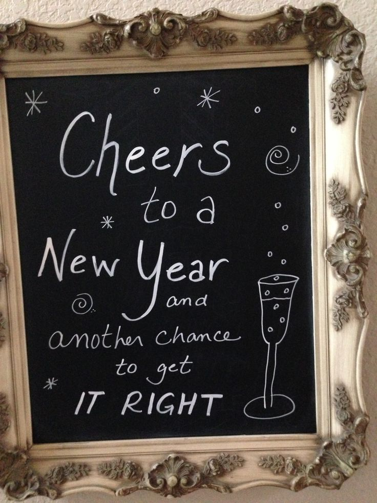 "New Years Sign in Gold Frame and on Chalkboard Paint. Change sign to ""Cheers to a New Year and a New Home"""