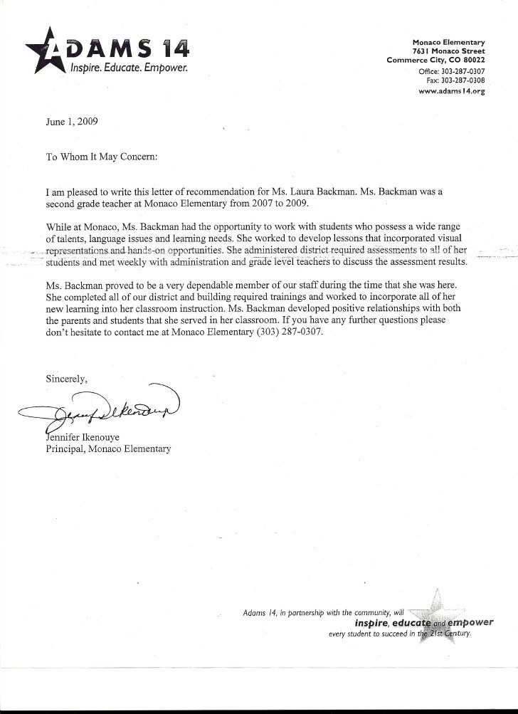 Recommendation Letter For Principal from i.pinimg.com