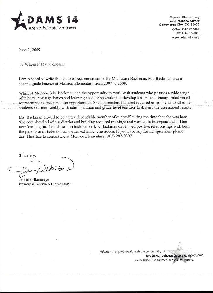 Letter Of Recommendation From Principal Jennifer Ikenouye Letter