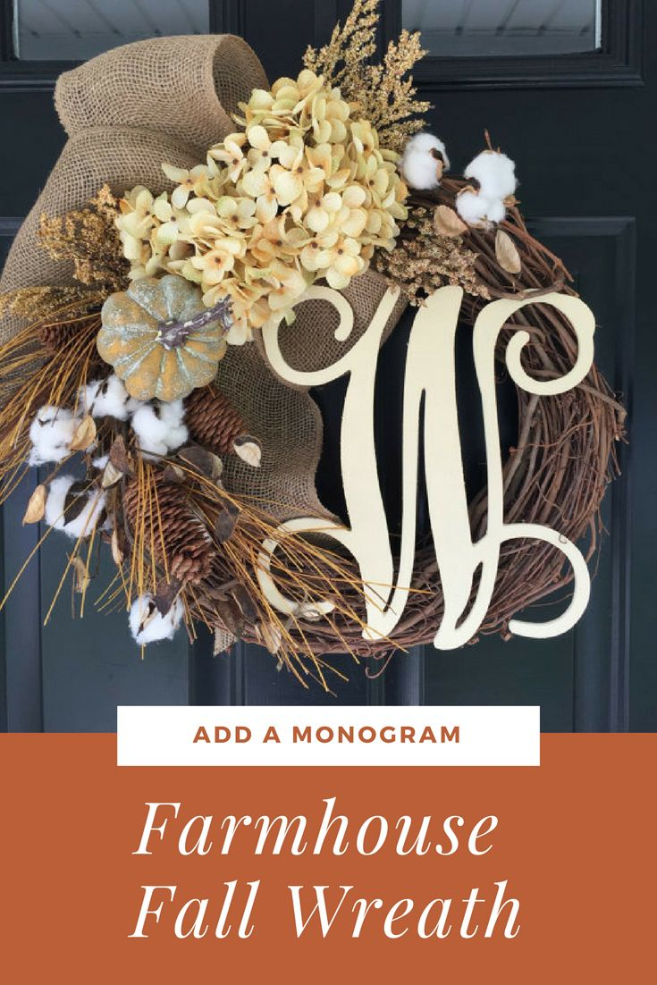 I'm in love with the neutral hues and the southern charm . 2 cream hydrangeas sit on either side of a large open weave burlap bow and a mix of tan and cream fall findings including , a pumpkin, cotton, cream plumes , pinecones and wheat fill out the design .  Fall Wreath -Shabby Chic Country Wreath - Hydrangea Burlap Pumpkin Monogram Wreath - Wreath -Fall Decor - Wreaths - Gifts