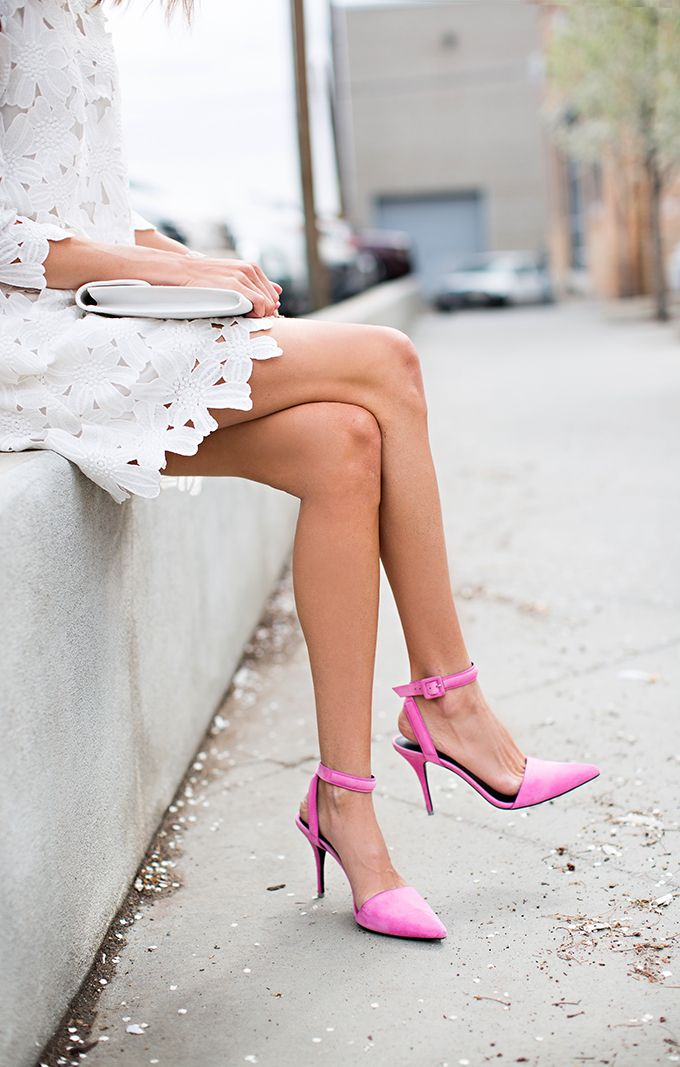 White lace + bubblegum heel