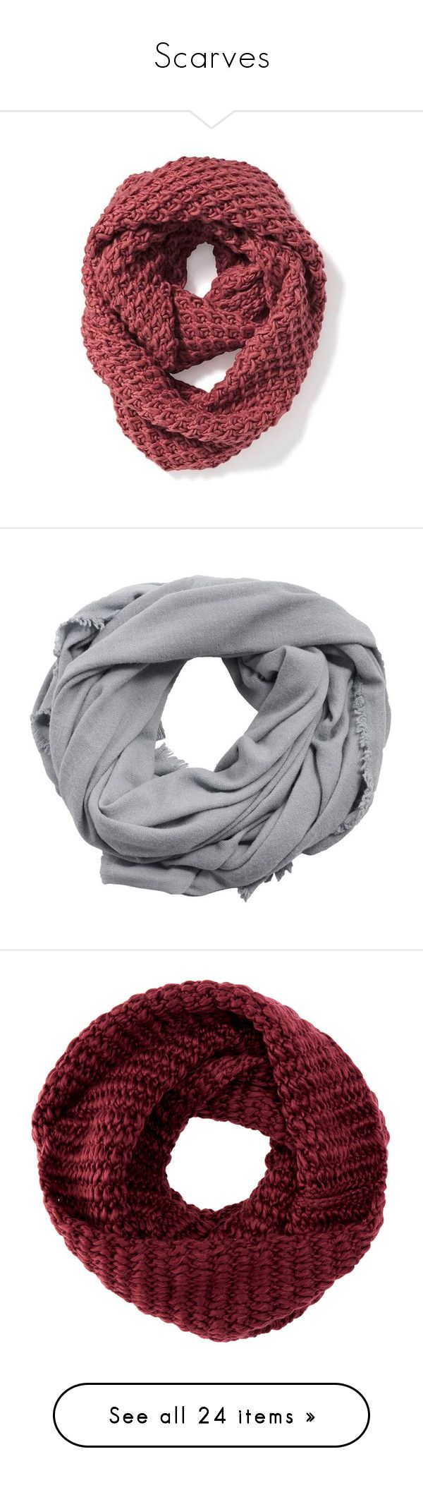 """""""Scarves"""" by ebeohp16 ❤ liked on Polyvore featuring accessories, scarves, knit infinity scarf, loop scarves, infinity scarf, old navy scarves, honey comb, burgundy, infinity loop scarves and hand crochet infinity scarf"""