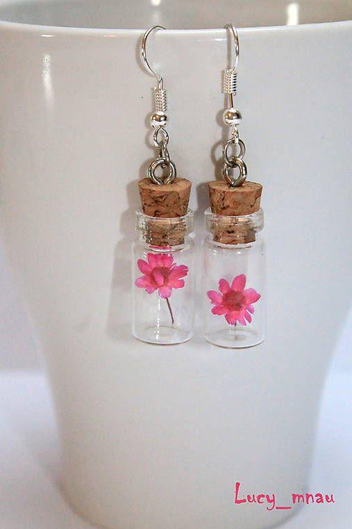 lucy_mnau / Sklenené náušničky-ružový kvet :)