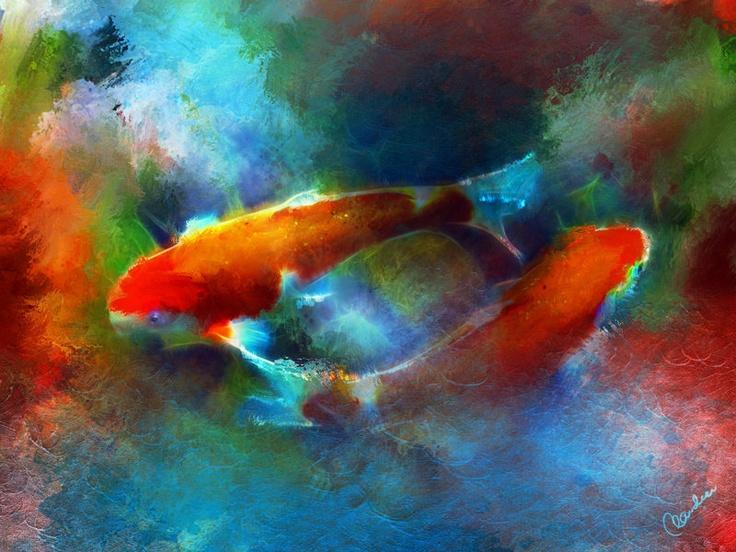 Beautiful dreamy koi digital painting i love koi koi for Koi art nature