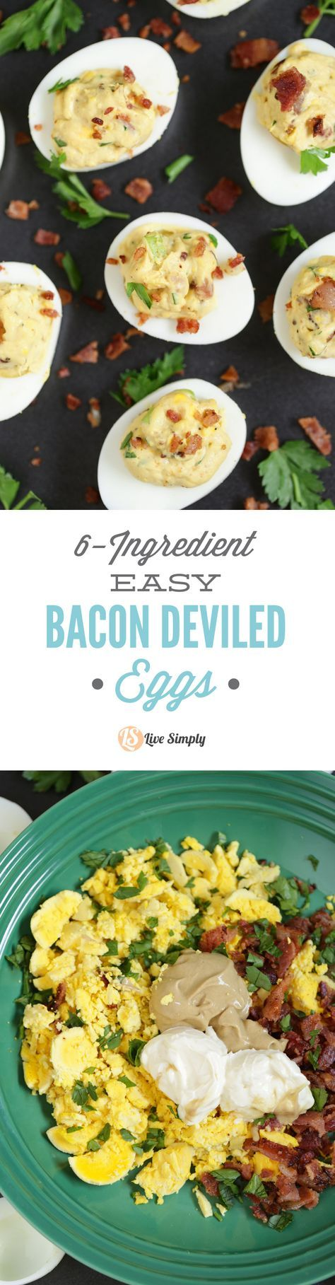 The BEST deviled egg recipe you'll ever make. Only 6 ingredients and 20 minutes are all you need to make these Easy Bacon Deviled Eggs. You may want to double the recipe...they'll go fast! http://livesimply.me/2015/03/25/6-ingredient-easy-bacon-deviled-eggs/