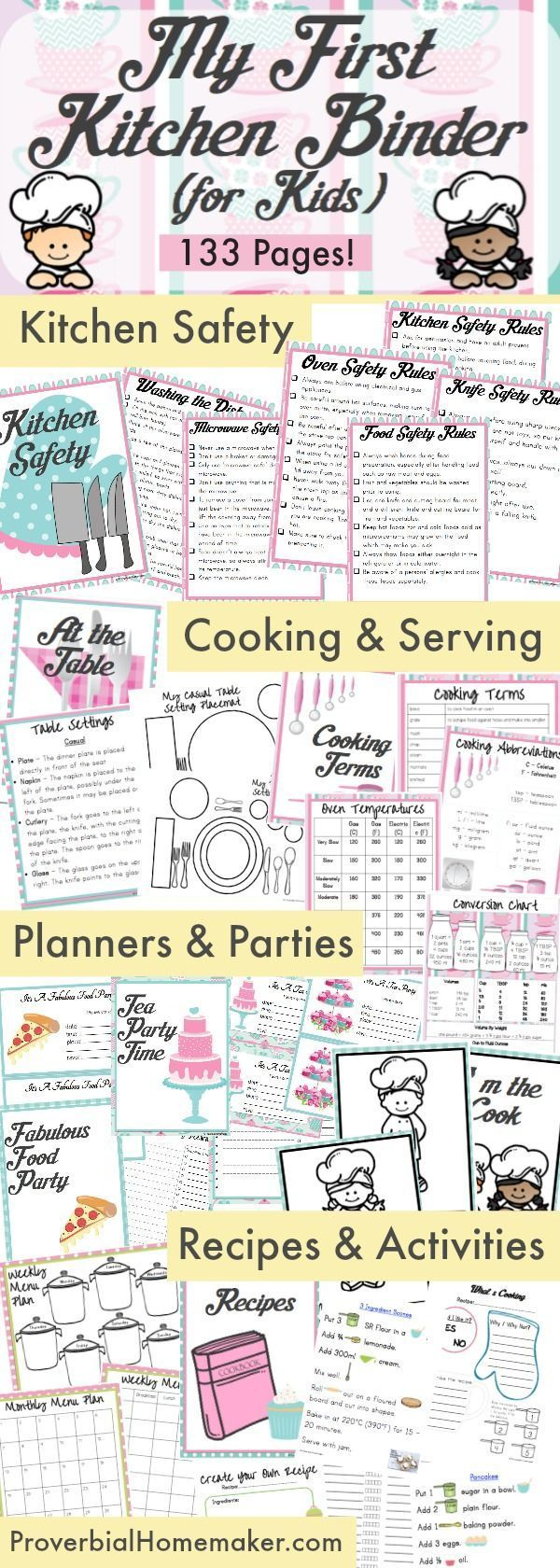 133 page binder to teach kids in the kitchen! Do you have a little cook in training? Kids love to work in the kitchen and My First Kitchen Binder for Kids is perfect for helping them get started! Your child will not only have a helpful tool but a treasured keepsake to enjoy for years to come.