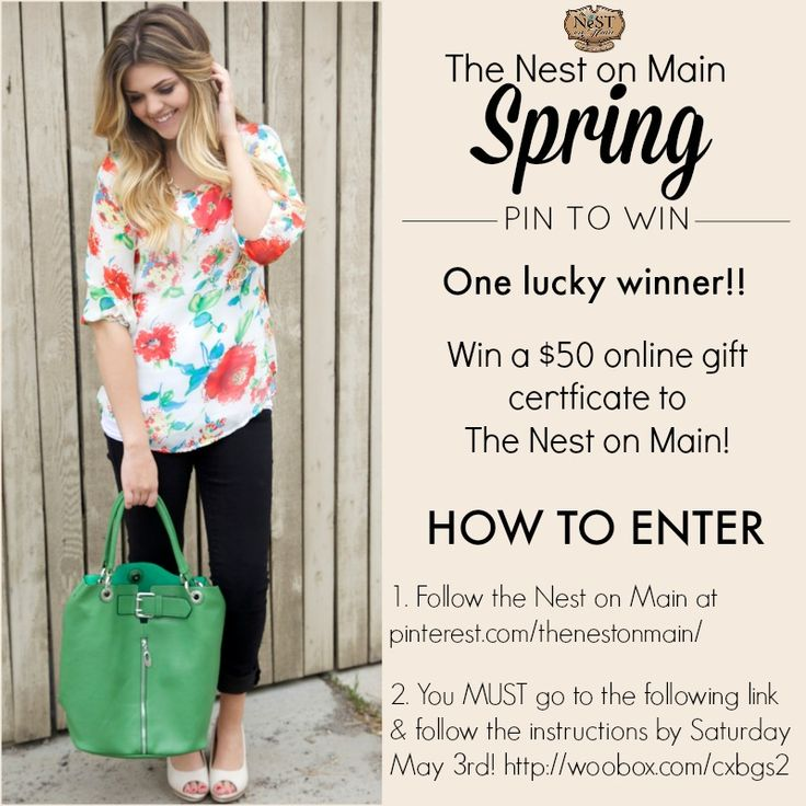 Win a $50 online gift certificate to The Nest on Main!!!