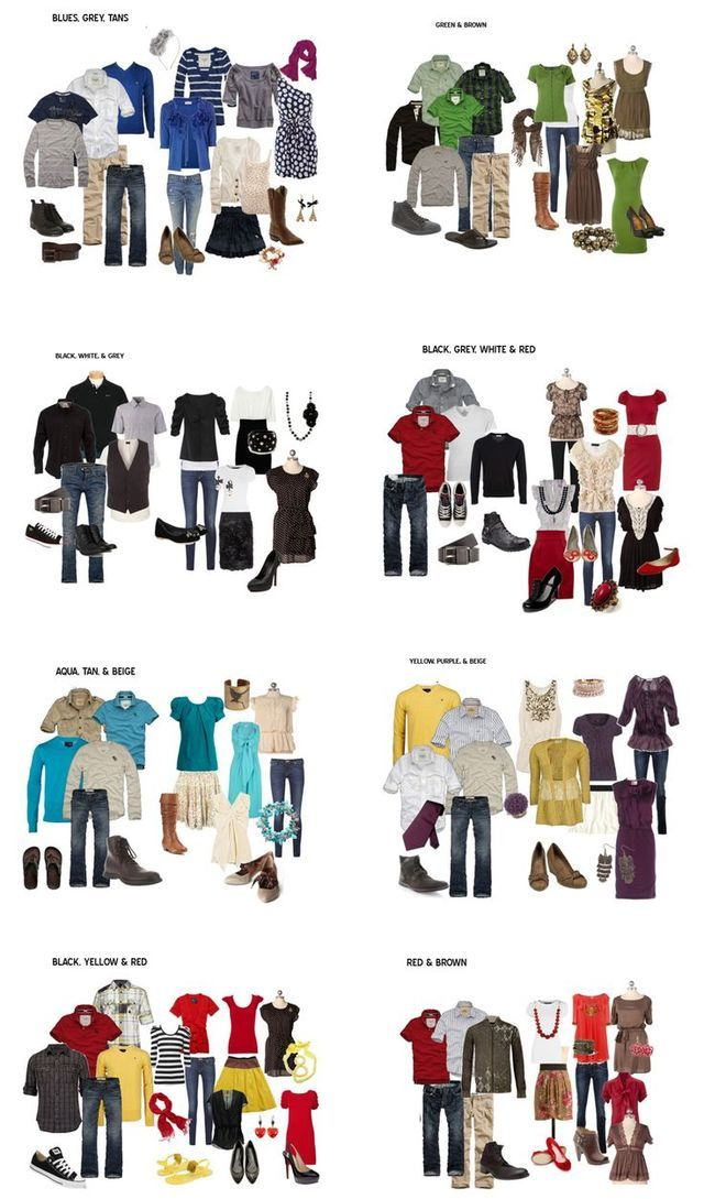 I found this on pinterest, through another photographer, but it is a PERFECT way to start planning for your fall session! I get a ton of inquiries about outfits, so this is a great resource! Photo Cre