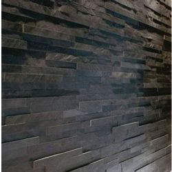 WALLS IN SHOWER ENCLOSURE Black Slate Split Face Mosaic Tile £27 sq m