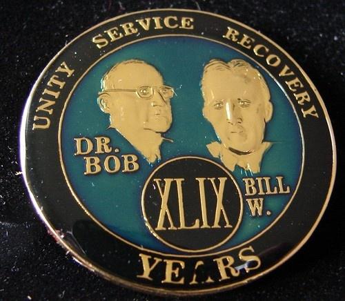 Alcoholics Anonymous 49 Year Anniversary Blue Tri Plate Medallion Bill w Dr Bob | eBay