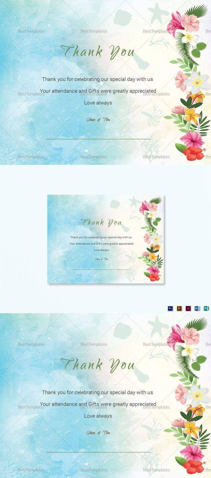 beach thank you card template in 2018 wedding templates