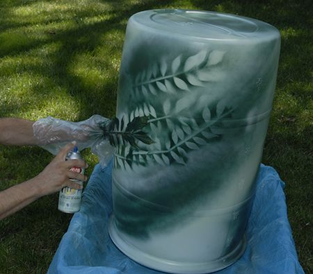 Rain Barrel painting with natural stencils, easy/quick