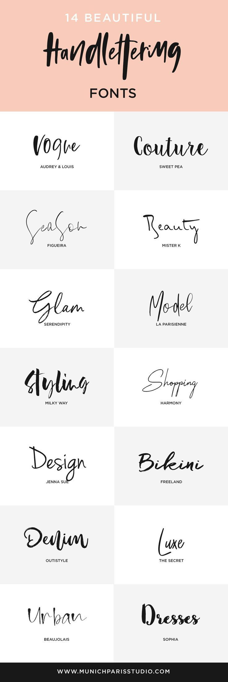 14 Beautiful Hand-Lettered Fonts for Logo & Branding