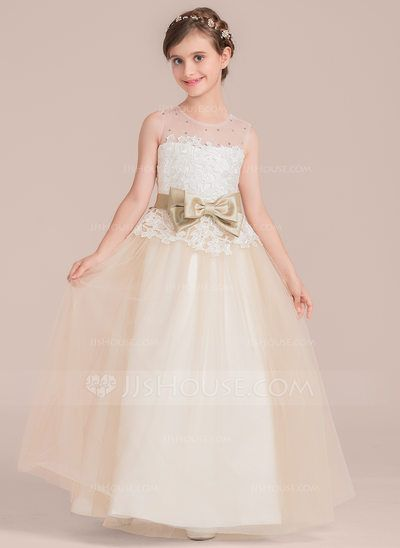 d2118b553 [US$ 61.59] Ball Gown Floor-length Flower Girl Dress - Satin/Tulle/Lace  Sleeveless Scoop Neck With Sash/Beading/Bow(s) (010136610)