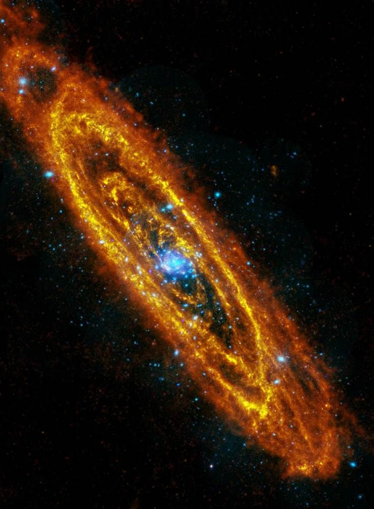 Andromeda in a new light  Two European space observatories teamed up to produce this image of the Andromeda Galaxy, which was released on Jan. 7. The Herschel space telescope focused on rings of star formation in infrared light, shown here in shades of red and orange. The XMM-Newton probe registered the X-ray emissions from exploding stars, shown here in blue.