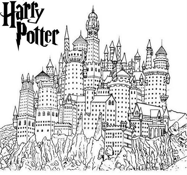 Awesome Harry Potter Hogwarts Castle Coloring Sheet
