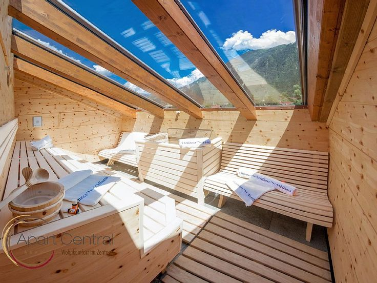 Apart Central, Mayrhofen Mayrhofen - Rubin: Außensauna mit Glasdach