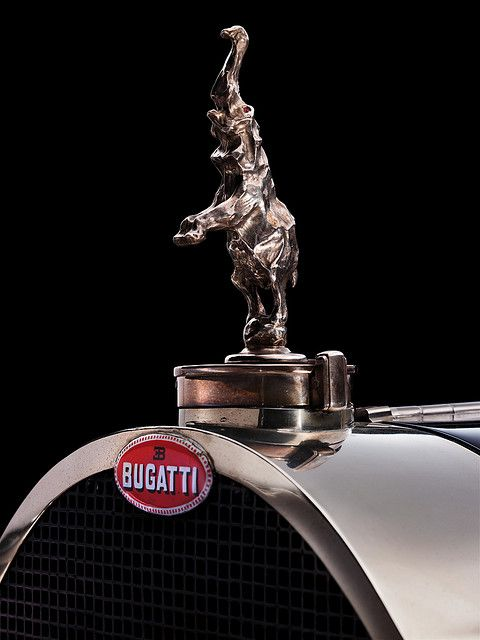 The Bugatti Type 41 Royale: Elephant hood ornament.