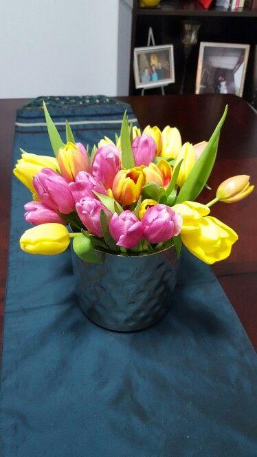 Tulips in ice bucket
