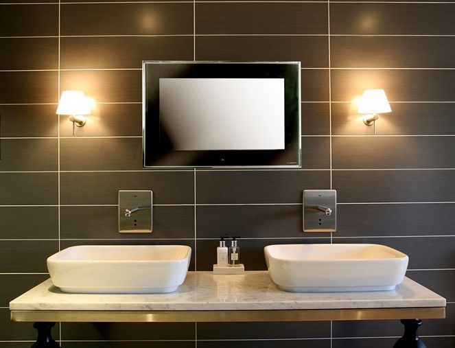"Aquavision 40"" Framed Waterproof LED TV, also doubles as a bathroom mirror. Buy Bathroom TVs from UK Bathrooms"