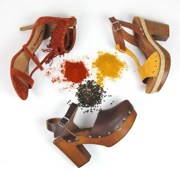 Wear some hippie colors! #tamaris #shoes #hippie #70s #style #blockheel #higheel #fringes #safron