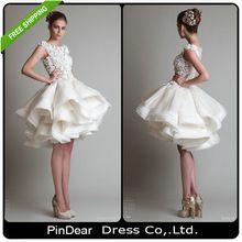 2015 nette Ballkleid Über Knie Kappen-hülsen Appliques Short Prom Kleider 2015 Reale Abbildungen vestido de festa curto (PD-P159)(China (Mainland))