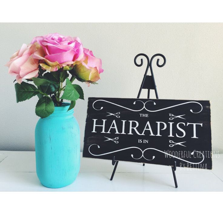 Rustic Wooden Signs, Hairstylist, Hair, Stylist, The Hairapist Is In, Hair Stylist Gift, Salon Wall Art, hair Salon Decor, Hair Salon Sign by WCbyBettina on Etsy https://www.etsy.com/listing/229251625/rustic-wooden-signs-hairstylist-hair
