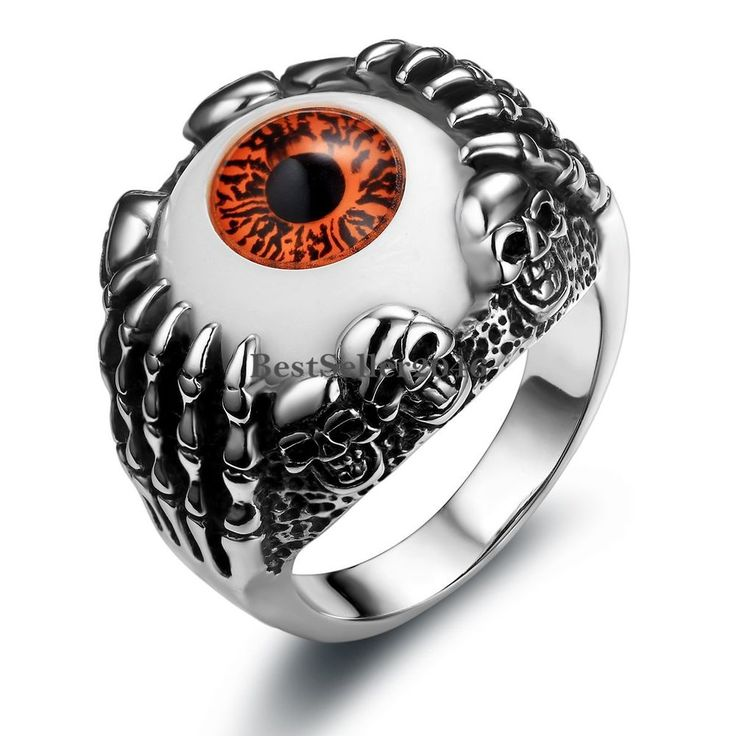 Edelstahl Biker Ring Gotik Skeletthand Schädel Teufel Rote Augen Herren Schmuck