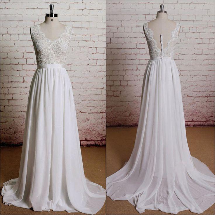 A-line V-neck Lace Bodice Chiffon Skirt Beach Wedding Dresses,apd2372