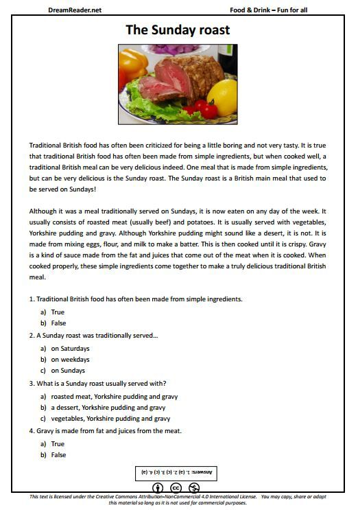 free esl worksheet about a traditional british meal the sunday roast. Black Bedroom Furniture Sets. Home Design Ideas