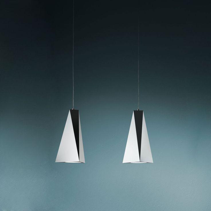 Vertigo 2 lighting suspension lamp shade of folded aluminium sheet mirror finish or white - Vertigo verlichting ...