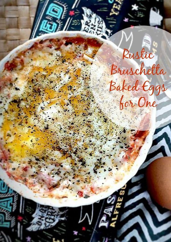 Nutritious, easy, and so delicious! These Rustic Tomato Bruschetta Baked Eggs w/ Parmesan Cheese for One are baked in the microwave and ready in less than 10 minutes, for a quick and easy healthy breakfast. | Recipe is gluten free, vegetarian, low FODMAP, grain free, low carb | The Spicy RD