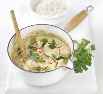 Nutty Chicken Curry ~ 20 mins ~ Per serving:  358 calories, protein 43g, carbohydrate 4g, fat 18.9 g, saturated fat 6g, fibre 1g, sugar 3g, salt 0.66 g  ~ Reduce fat by browning chicken in sprayed pan in place of oil ~ Serve on shredded spinach