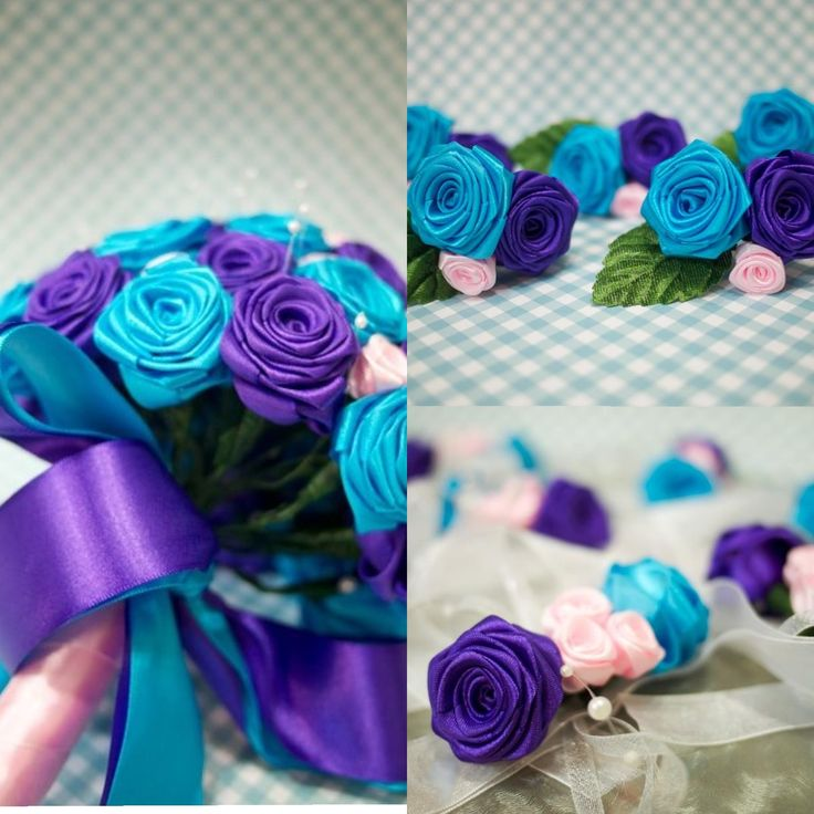 Stunning purple and turquoise wedding bouquet, corsages and boutonnieres. All handmade from ribbons!