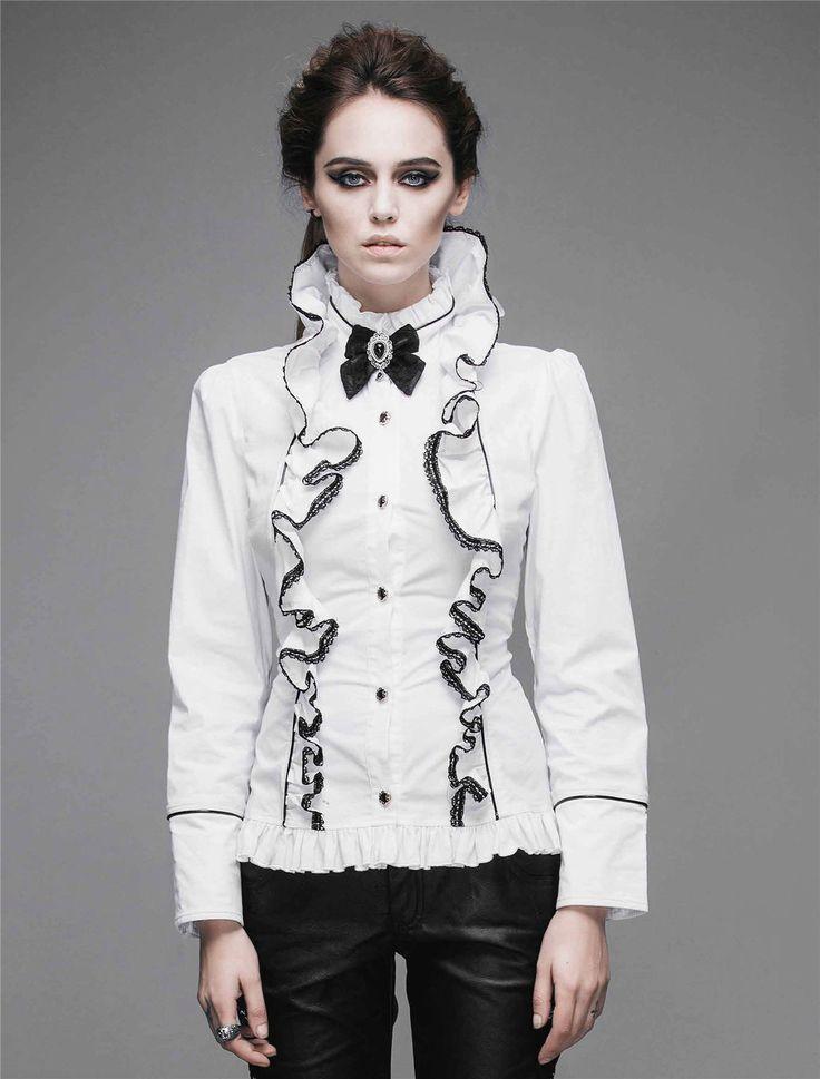 Devil Fashion Womens Blouse Top Goth Steampunk Victorian Aristocrat Cosplay