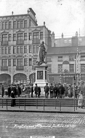 King Edward VII Statue, Fitzalan Square, No 4, Fisher, Son and Sibray Ltd., Nurserymen and The White Building including Daniel Hemmines, Hosiers and Midland Railway Parcel Office, in background