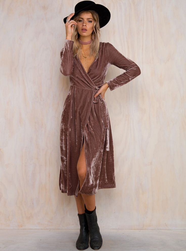 Lucille Velvet Wrap Dress