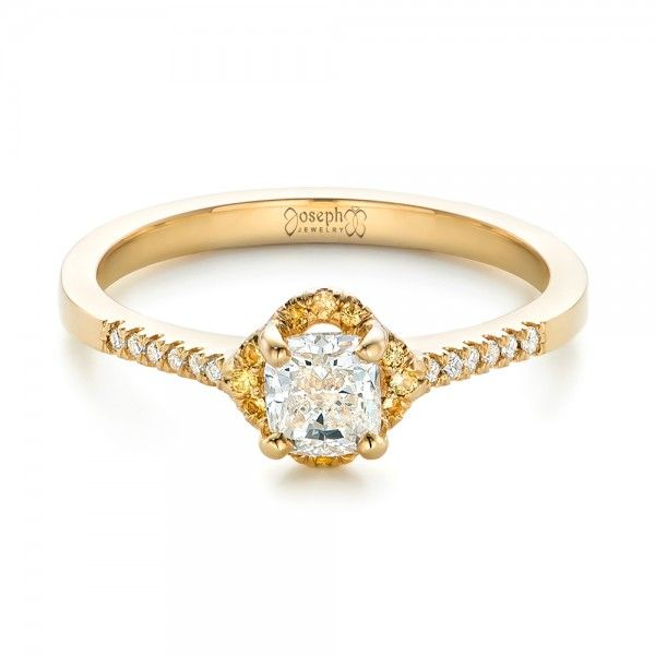 Custom Cushion Cut Diamond And Yellow Shire Halo Gold Engagement Ring Joseph Jewelry