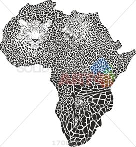 Black and white leopard giraffe camouflage hide forming africa continent on white vertical
