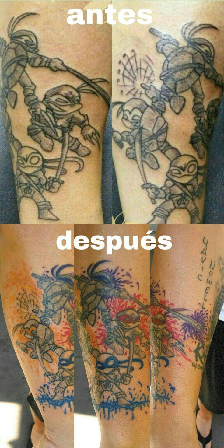 El antes y el despues de mi tatuaje de las tortugas ninjas.