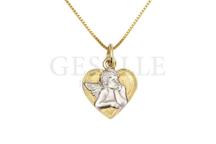 Uroczy, rodowany aniołek w złotym serduszku - złota zawieszka z możliwością graweru! | ZŁOTO \ Żółte złoto \ Medaliki NA PREZENT \ Chrzest Święty NA PREZENT \ Komunia Święta NA PREZENT \ Mikołajki od GESELLE Jubiler